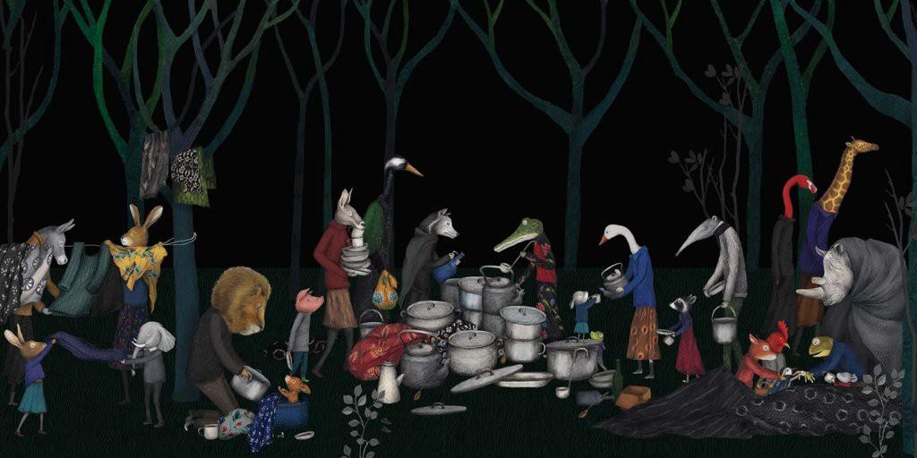 Il·lustració d'animals migrants en un camp de migrants