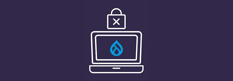 Ordenador con icono de Drupal y candado de seguridad