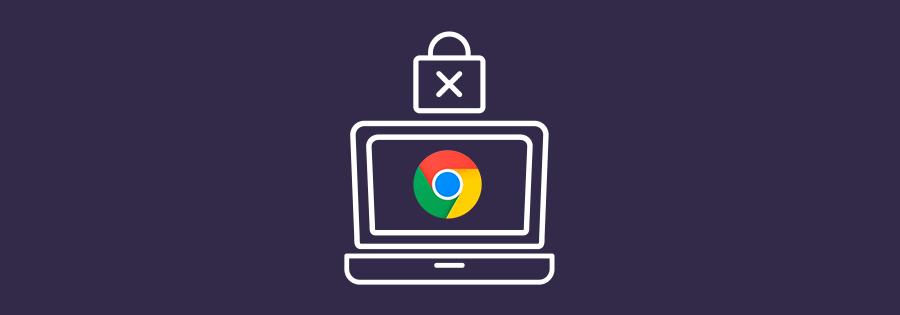 Ordenador con icono de Chrome y candado de seguridad