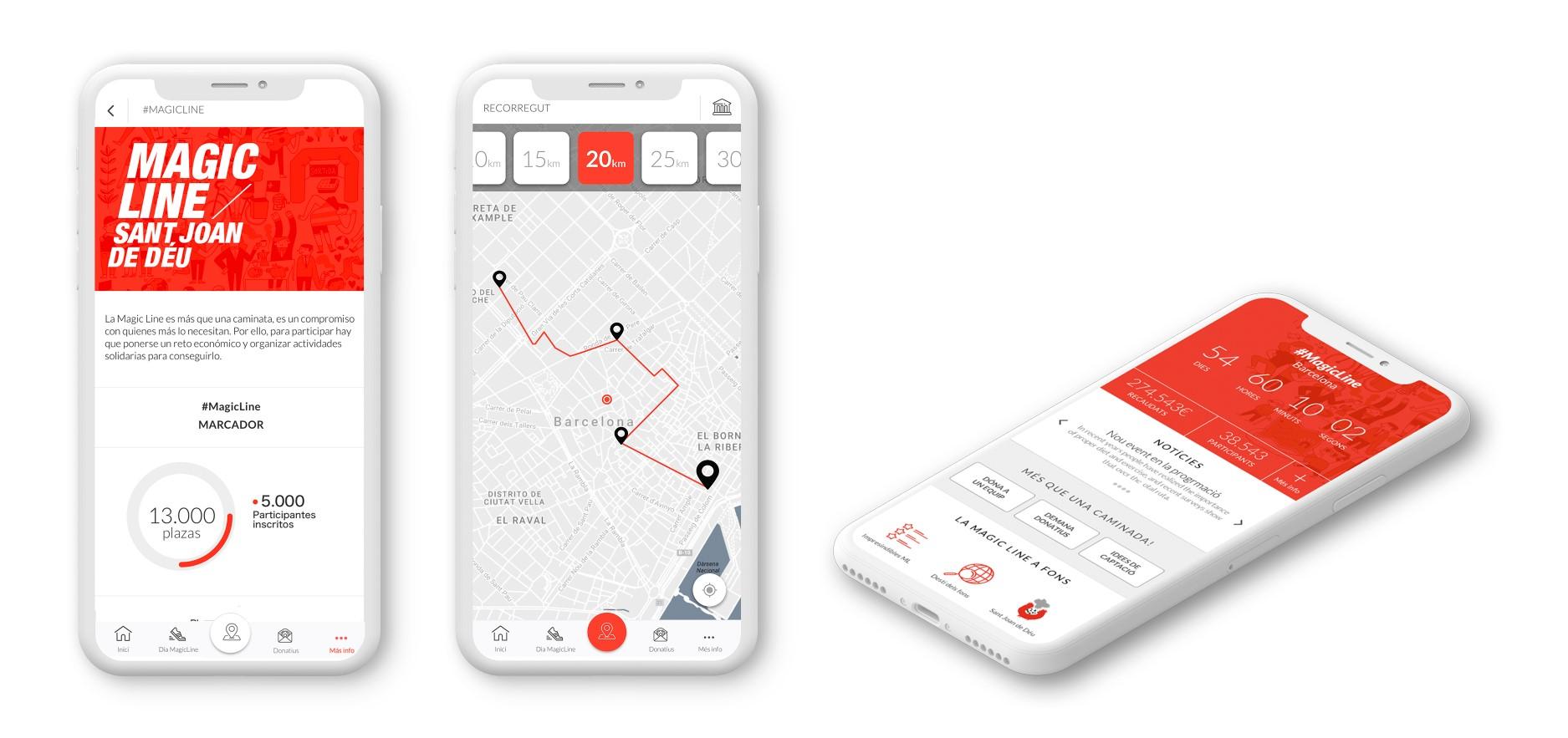 Pantalles de l'app Magic Line en versions anteriors