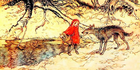 Caperucita roja con el lobo