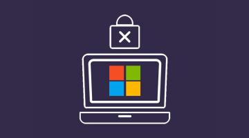 Ordenador con icono de Microsoft y candado de seguridad