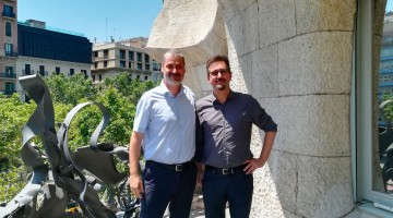 Marc Castells and Martin Dougiamas in BaseTIS Pedrera's Office