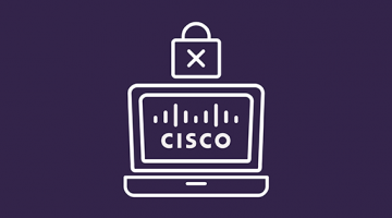 Ordenador con icono de Cisco y candado de seguridad